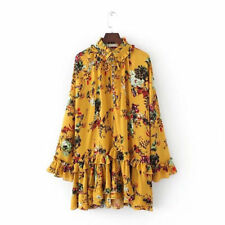 Boho Chic Floral Stitching Printing Ruffle Dress For Women Large Retro Dress