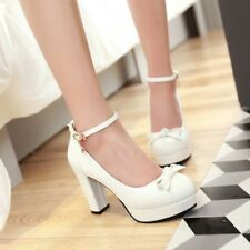 Mary Jane Womens Grace Bowknot Chunky Heels Platform Ankle Strappy Shoes Sandals
