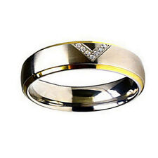 Titanium Wedding Band 6mm Two-toned CZ Victory Promise Ring