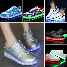 Unisex Women Men 7 Color LED Light Up Shoes Casual Lace Up Sneakers USB Charge
