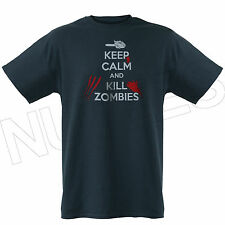 Keep Calm And Kill Zombies Chainsaw Funny Mens Ladies Kids T-Shirts Vest S-XXL