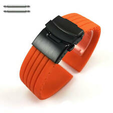 Orange Rubber Silicone Watch Band Strap Double Locking Black PVD Steel Buckle