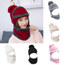 Women Set Scarf Hat Winter Warm Knit Wool Crochet Beanie Ski Cap Muffler Shawl