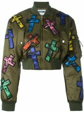 Moschino Couture Jeremy Scott ALLOVER COLORFUL CROSS PATCH CROPPED BOMBER JACKET