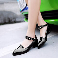 Mary Jane Rivet Womens Strap PointY toe pumps Low Chunky Heel Shoes sweet
