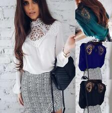 Women Lace Spliced Mock Neck Long Sleeve Hollow Out Loose Chiffon Top Blouse