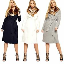 New Womens Ladies Long Sleeve Pocket Faux Fur Collar Open Belted Jacket Coat Top