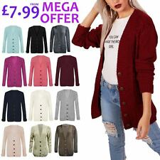 Womens Ladies Cardi Button Top Aran Cable Knitted Chunky Grandad Cardigan S-3XL