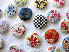 10 Wooden-Buttons, different Patterns,approx. 23mm,Patterns selectable K85
