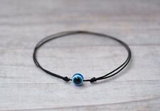 Blue Evil Eye Bracelet. Black String Good Luck Amulet Women Men Children Baby