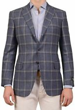 BELVEST Hand Made In Italy Blue Windowpane Cashmere Flannel Blazer Jacket NEW R7