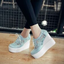 Vogue Hollow Floral Mesh Lace-up Loafers Pumps Collegiate Wedges Shoes