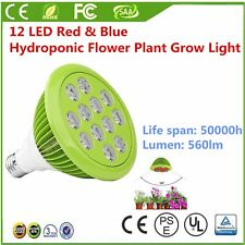 12/24W E26/E27 PAR38 12 LED Red & Blue Hydroponic Flower Plant Grow Light Bulb&Y