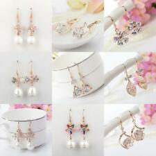 Elegant Women Gold Plated Zircon Crystal Flower Leaf Drop Dangle Hoop Earrings