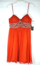 Aidan Mattox Niteline Orange Beaded Silk Chiffon Spaghetti Strap Dress NWT $270