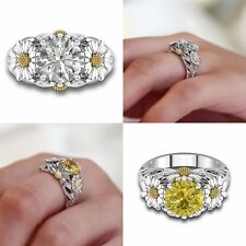 Lady Rings Sunflower Charm Crystal Zircon Rhinestones Friendship Women Jewelry