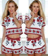 Women's 2 Pieces Ethnic Style Floral Print Pajama Homewear Crop-Top Shorts Sets