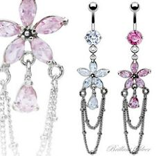 Belly Button Piercing Stud Silver Pendant Flower Chains Crystal White, Pink