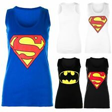 Womens Sleeveless Superman Batman Ladies Muscle Racer Back Top T Shirt Vest