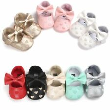 0-18M Baby Girl Bowknot Soft Sole Crib Shoes Kids PU Leather Pram Shoes Sneakers