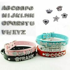 Bling Dog Cat Pet Personalized Leather Name Collar Chihuahua Yorkie Dachshund Fr