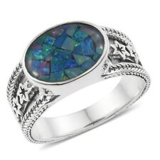 Australian Mosaic Opal Sterling Silver Star Engraved Solitaire Men's Ring (Size