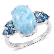 Larimar, London Blue Topaz Sterling Silver Ring  TGW 8.05 cts.