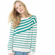 Womens Crew Neck Jumper/Sweater With Asymmetric Stripes