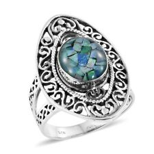 Artisan Crafted Australian Mosaic Opal Sterling Silver Openwork Split Ring (Size