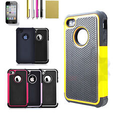 Hybrid Rugged Rubber Matte Hard Protective Case Cover Skin for Apple iPhone 4 4S