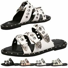 Arianne Womens Flats Low Heel Peep Toe Sandals Ladies Sliders Shoes Strappy Size