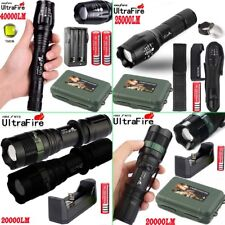 Tactical Zoomable Flashlight 5Mode 40000LM T6 LED Torch 18650 Battery Case WE