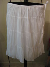 WOMANS WHITE KRINKLE TIER SKIRT WASHABLE TALBOTS PETITE PLUS 18WP $90