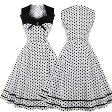 50s Retro Rockabilly Housewife Pinup Vintage Style Swing Polka Dot Evening Dress