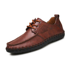 Mens Driving Loafer Shoes Flats Leather Casual Cowhide Moccasins Lace up Shoes