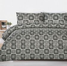 300TC Chequer Middle Grey Jacquard Quilt Doona Cover Set - QUEEN KING