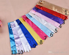 Fashion Girls Satin Bow Pearl Gloves Costume Gloves Elbow Length Opera Childs DE