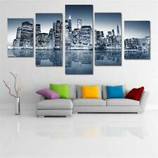 Oil Painting Huge Wall Art Home Decor On Canvas Frameless City Reflection Silver