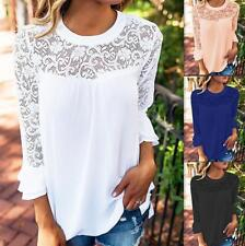Women Round Neck Bell Long Sleeve Lace Splicing See Through Slim Top Blouse