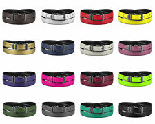 CONCITOR Reversible Belt Solid Colors & Black Bonded Leather Pewter-Tone Buckle