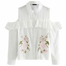 Women Off Shoulder Ruffles Decorated Embroidery Pattern Turn-down Collar Blouse