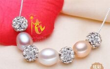 Natural FreshWater Pearl, Earring, Necklace Crystal Pearl Set, Adjustable Ring .