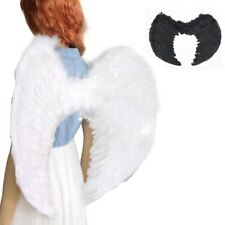 US Fairy Feather Wings Angel Adult Kids Fancy Dress Up White Black Wings Costume
