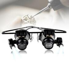 1x Binocular Glasses Type 20X Watch Jewellery Repair Magnifier with LED Light MG