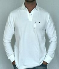 100% AUTHENTIC MENS DESIGNER TOMMY HILFIGER LONG SLEEVE POLO WHITE SIZE M OR L