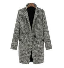 Women's Notched Lapel Houndstooth One Button Career Coat Tweed Outwear Jacket