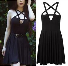 Women's Sexy Hollow-out V Neck Straps Cross Sleeveless Pleated Swing Mini Dress