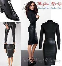 Faux Leather Black Bodycon-Dress/Trousers/Boots/Skirt Size 6-8-10-12-14-16-18-20