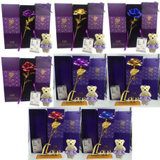 24K Gold Plated Rose Flower Valentine's day Birthday Gifts + Cute Teddy Bear