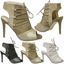 Dahlia Womens High Stiletto Heels Cut Out Peep Toe Ankle Boots Ladies Shoes Size